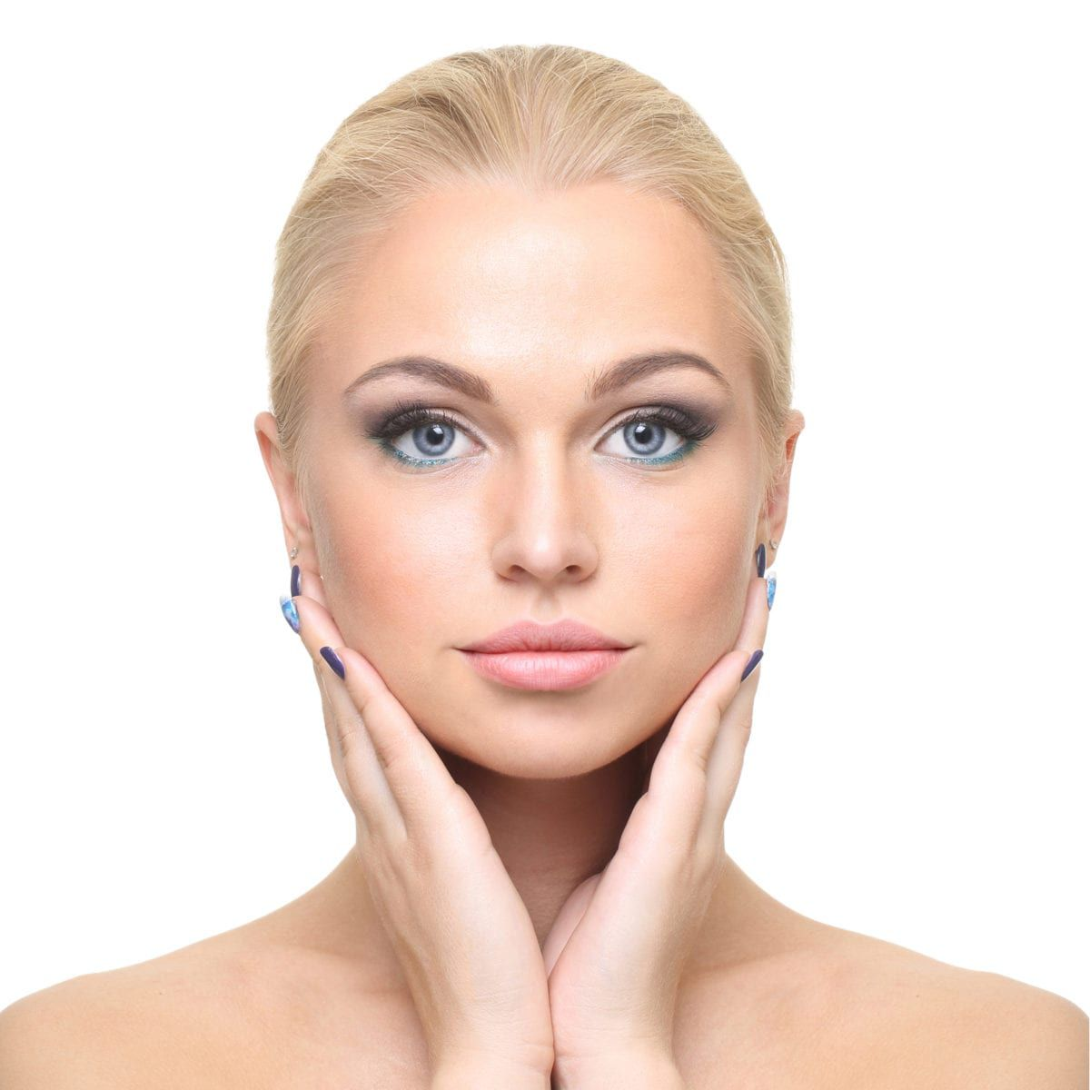 caucasian model holding face